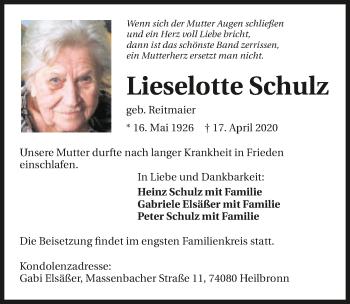 Traueranzeige von Lieselotte Schulz