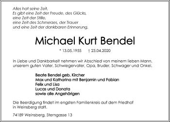 Traueranzeige von Michael Bendel