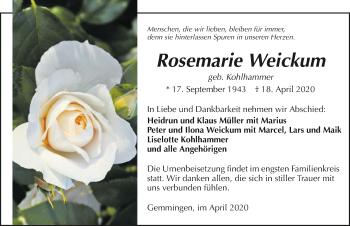 Traueranzeige von Rosemarie Weickum