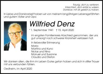 Traueranzeige von Wilfried Denz