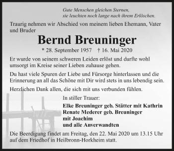 Traueranzeige von Bernd Breuninger