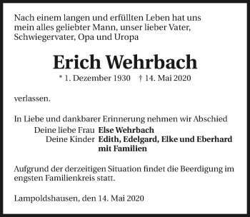 Traueranzeige von Erich Wehrbach