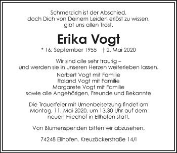 Traueranzeige von Erika Vogt