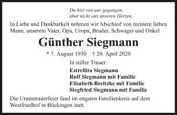 Traueranzeige von Günther Siegmann