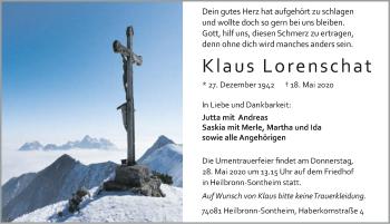 Traueranzeige von Klaus Lorenschat