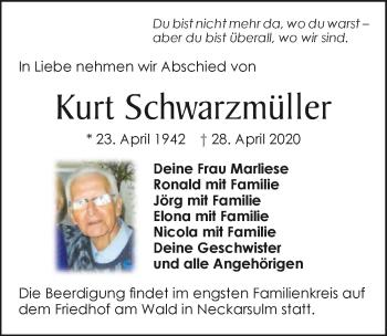 Traueranzeige von Kurt Schwarzmüller