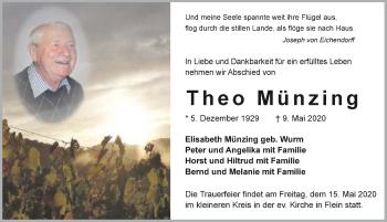 Traueranzeige von Theo Münzing