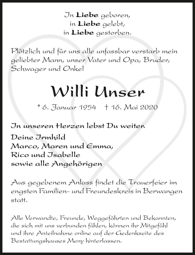 Traueranzeige für Willi Unser vom 20.05.2020 aus