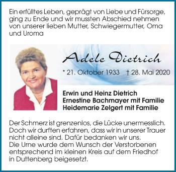 Traueranzeige von Adele Dietrich