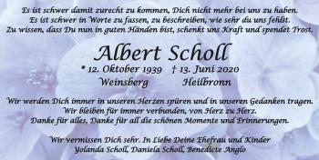 Traueranzeige von Albert Scholl