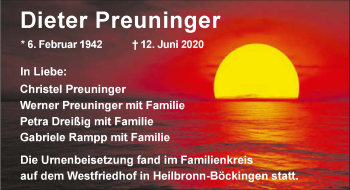 Traueranzeige von Dieter Preuninger