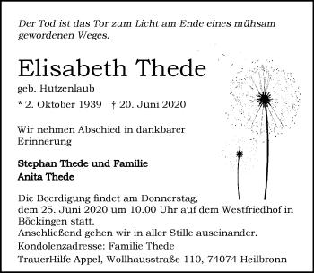 Traueranzeige von Elisabeth Thede