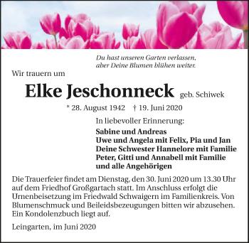 Traueranzeige von Elke Jeschonneck