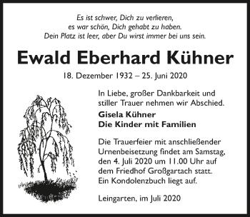 Traueranzeige von Ewald Eberhard Kühner