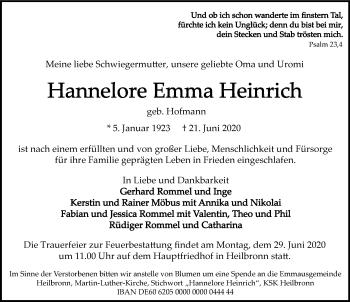 Traueranzeige von Hannelore Emma Heinrich