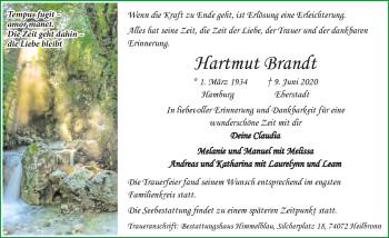 Traueranzeige von Hartmut Brandt