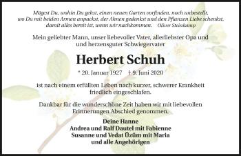 Traueranzeige von Herbert Schuh