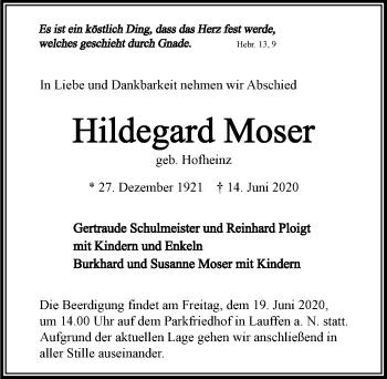 Traueranzeige von Hildegard Moser