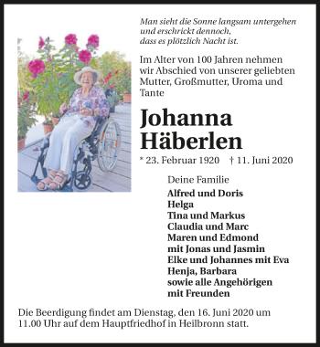 Traueranzeige von Johanna Häberlen