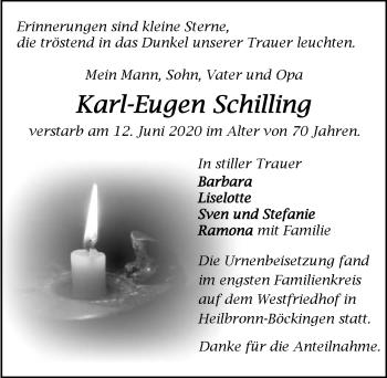 Traueranzeige von Karl-Eugen Schilling
