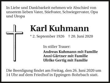 Traueranzeige von Karl Kuhmann