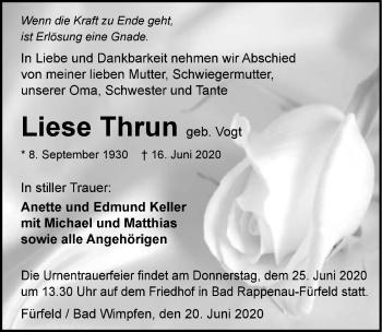 Traueranzeige von Liese Thrun