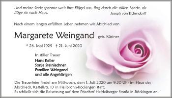 Traueranzeige von Margarete Weingand