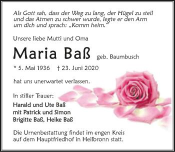 Traueranzeige von Maria Baß