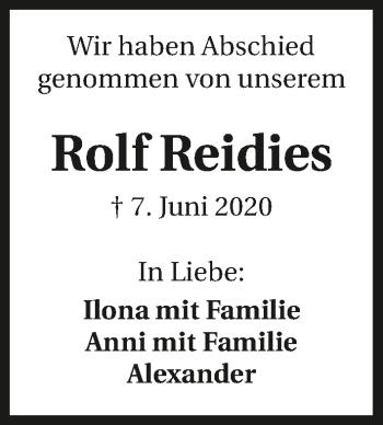Traueranzeige von Rolf Reidies