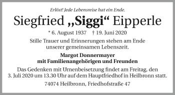 Traueranzeige von Siegfried Eipperle
