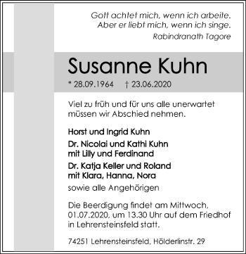 Traueranzeige von Susanne Kuhn