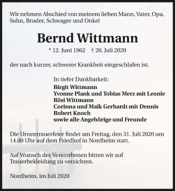 Traueranzeige von Bernd Wittmann von GESAMT