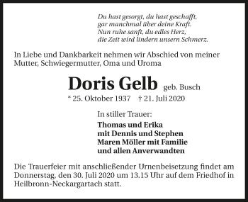 Traueranzeige von Doris Gelb von GESAMT