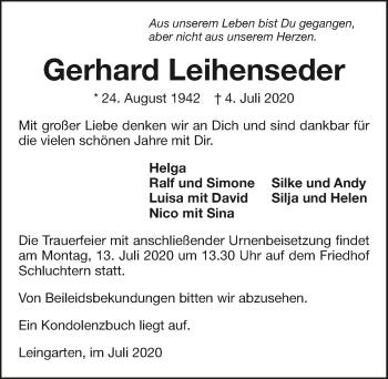 Traueranzeige von Gerhard Leihenseder von GESAMT
