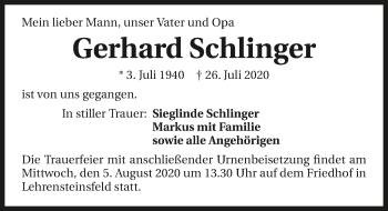 Traueranzeige von Gerhard Schlinger von GESAMT