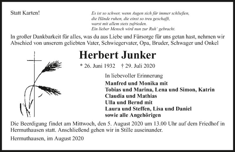 Traueranzeige für Herbert Junker vom 01.08.2020 aus GESAMT