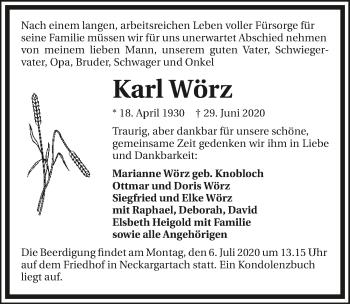 Traueranzeige von Karl Wörz von GESAMT