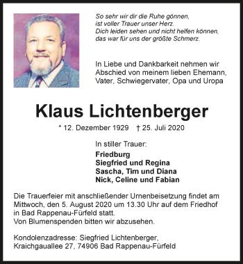 Traueranzeige von Klaus Lichtenberger von GESAMT