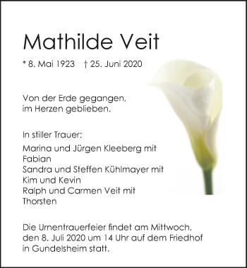 Traueranzeige von Mathilde Veit von GESAMT