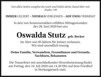 Traueranzeige von Oswalda Stutz von GESAMT