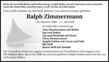 Traueranzeige von Ralph Zimmermann von GESAMT