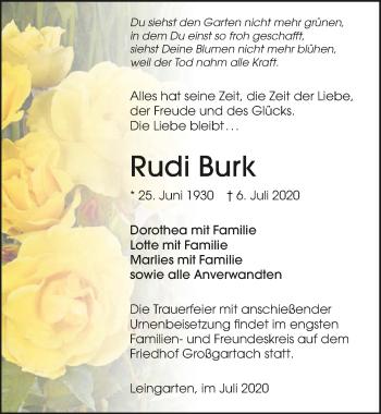 Traueranzeige von Rudi Burk von GESAMT