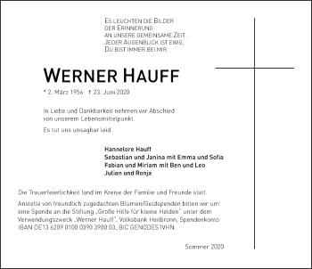 Traueranzeige von Werner Hauff von GESAMT