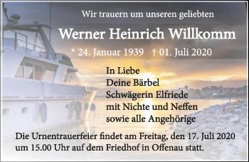 Traueranzeige von Werner Heinrich Willkomm von GESAMT