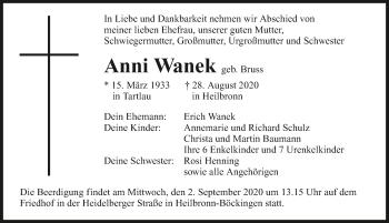 Traueranzeige von Anni Wanek von GESAMT