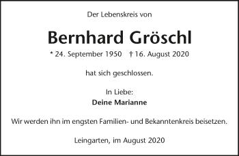 Traueranzeige von Bernhard Gröschl von GESAMT