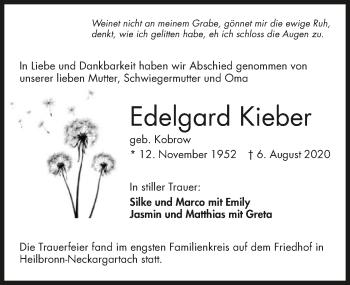 Traueranzeige von Edelgard Kieber von GESAMT