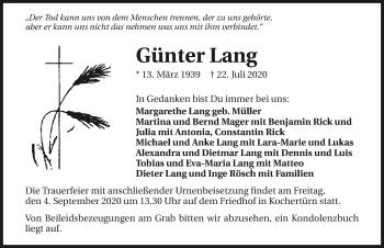 Traueranzeige von Günter Lang von GESAMT