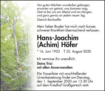 Traueranzeige von Hans-Joachim Höfer von GESAMT