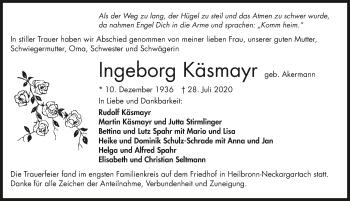 Traueranzeige von Ingeborg Käsmayr von GESAMT